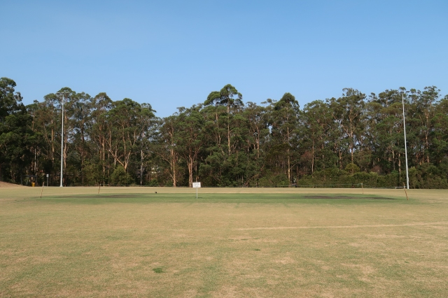 Field of dry grass with green, semi bald patch in the middle and signpost warning people to keep off cricket wicket.